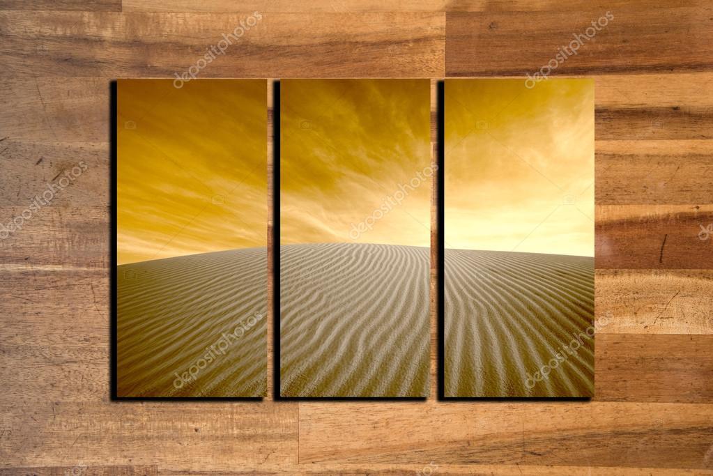 marco de collage de fotos de paisaje sobre fondo de madera — Fotos ...