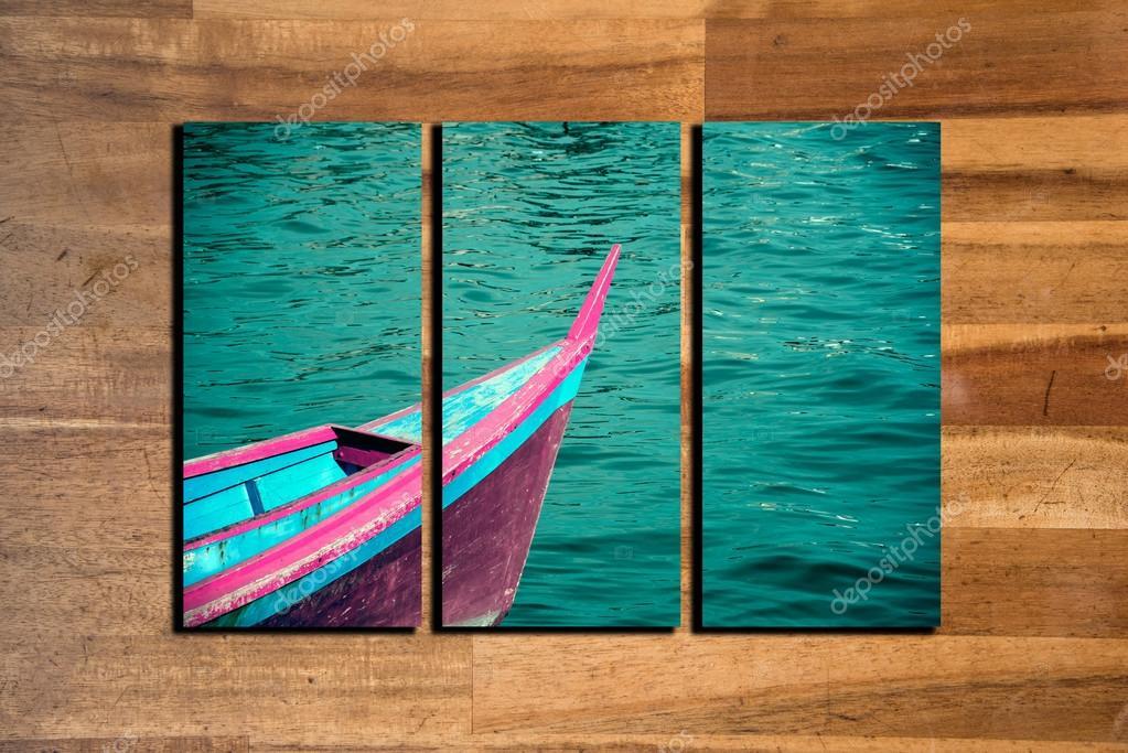 marco de paisaje marino de la foto collage sobre fondo de madera ...