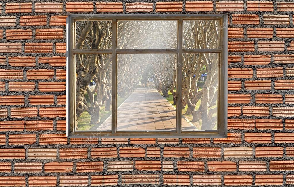 window on brick wall with tree tunnel