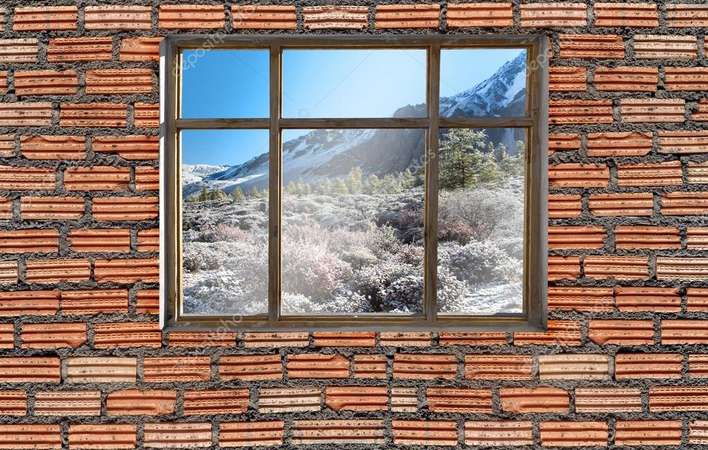 window on brick wall with Yading, China