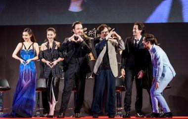 Mika Wang, Lin Peng, John Cusack, Jackie Chan, Adrien Brody and Choi Siwon at Dragon Blade Premiere.