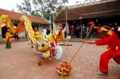 Skupina neznámých tanečník s jejich barevné draka na 04 květen 2013 v Nam Dinh, Vietnam
