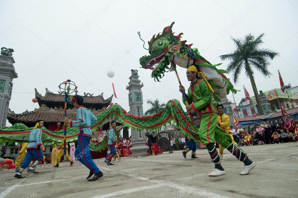 A group of unidentified dancer with their colorful dragon on May 04, 2013 in Nam Dinh, Vietnam.