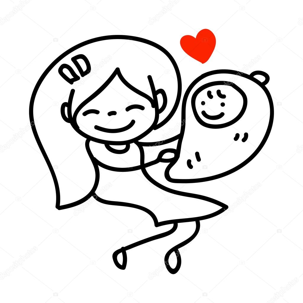 Рисунок мама с ребенком