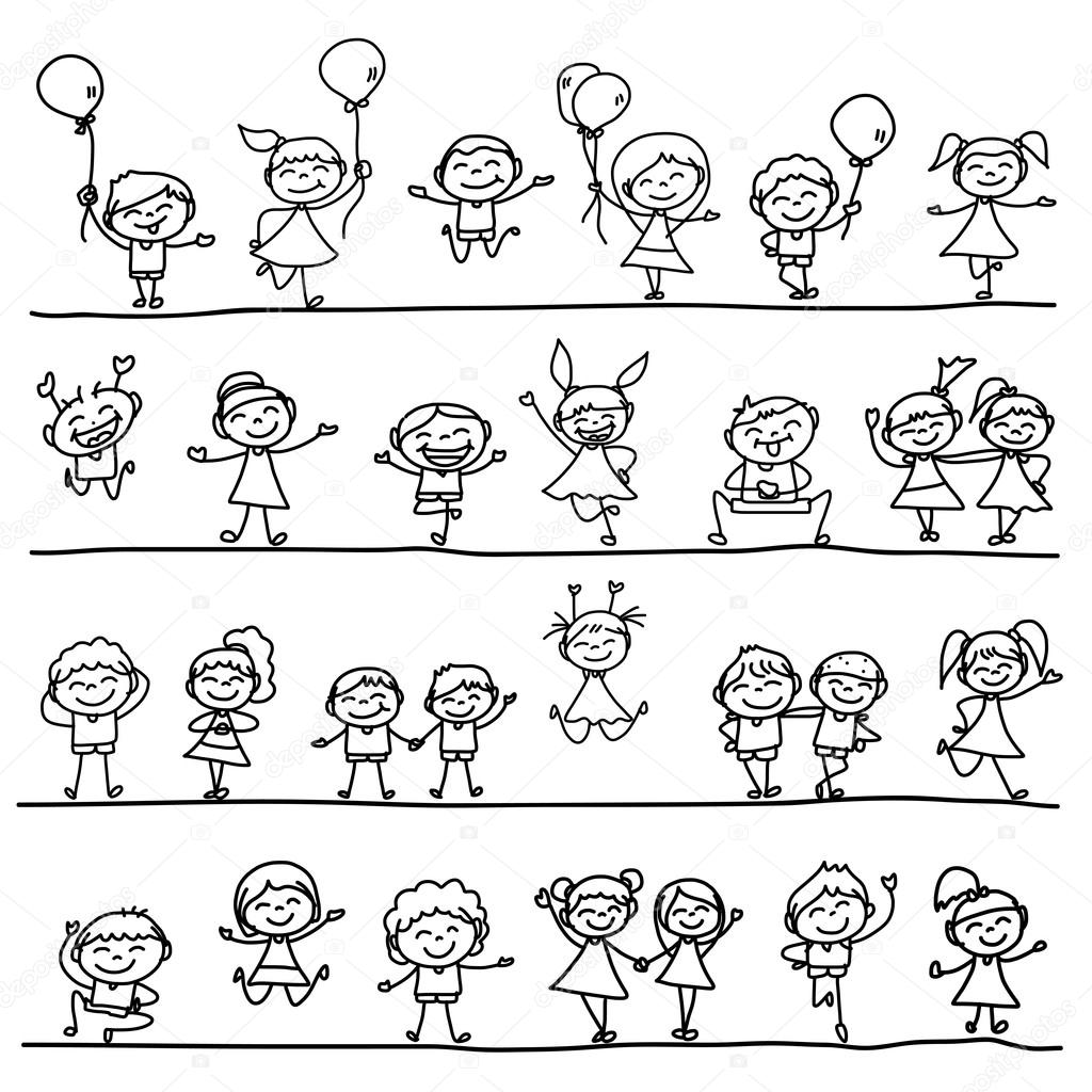 Main de dessin des enfants heureux image vectorielle - Dessin main enfant ...