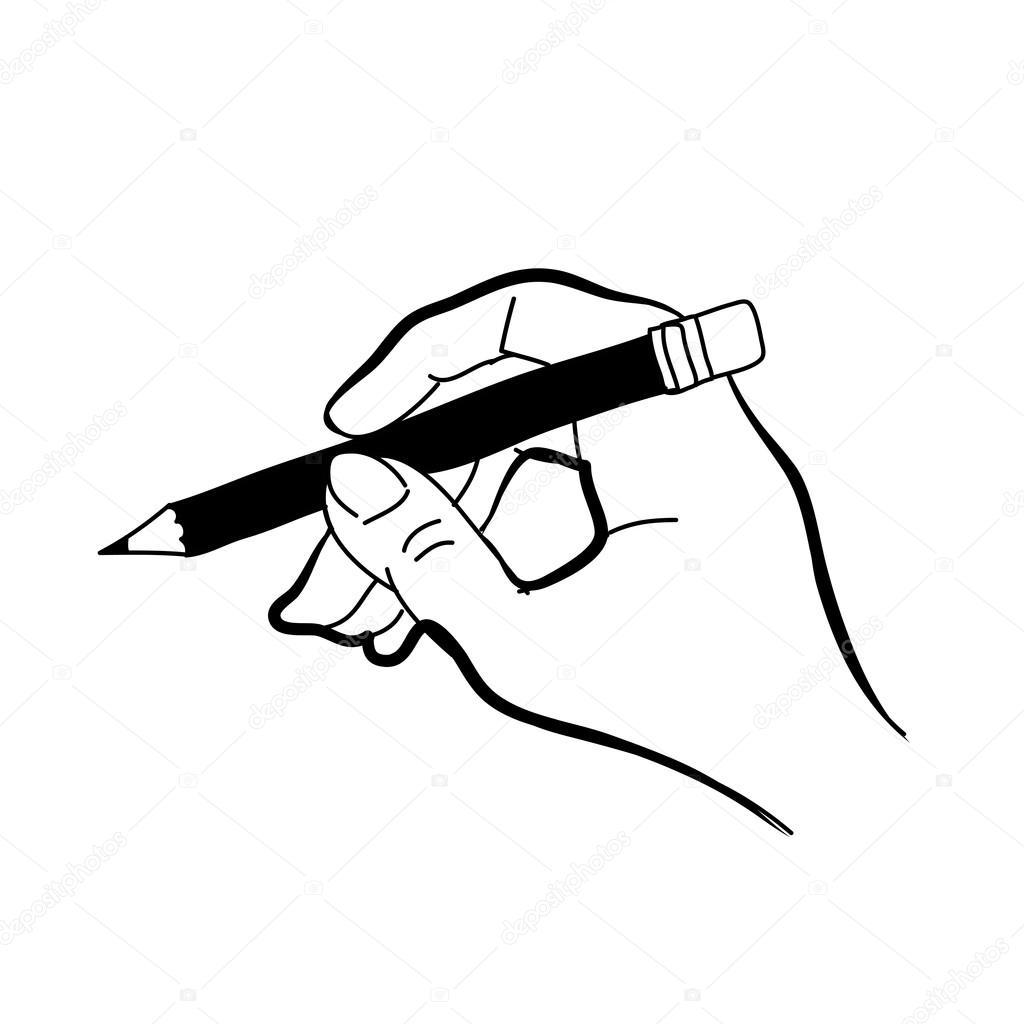 Dessin main tenant le crayon la main image vectorielle - Main dessin crayon ...