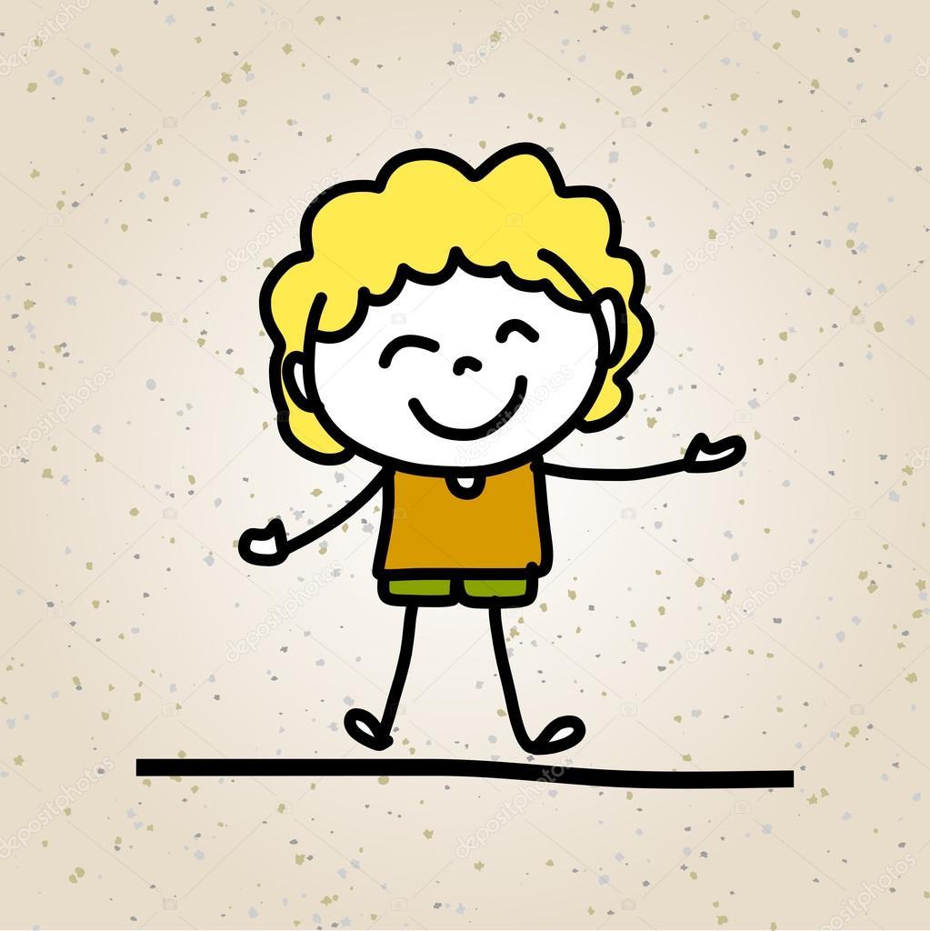 Rucni Kresba Abstraktni Kresleny Stastne Deti Stock Vektor