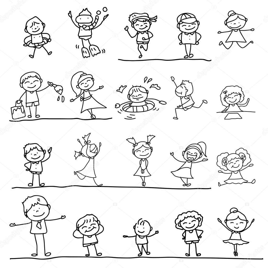 Rucni Kresleni Karikatury Stastne Deti Stock Vektor C Atthameeni