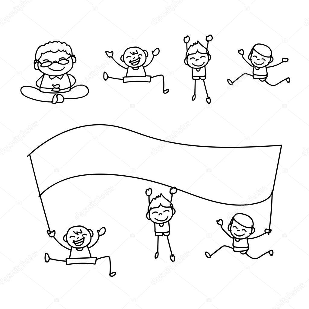 Persone felici di disegno a mano — vettoriali stock