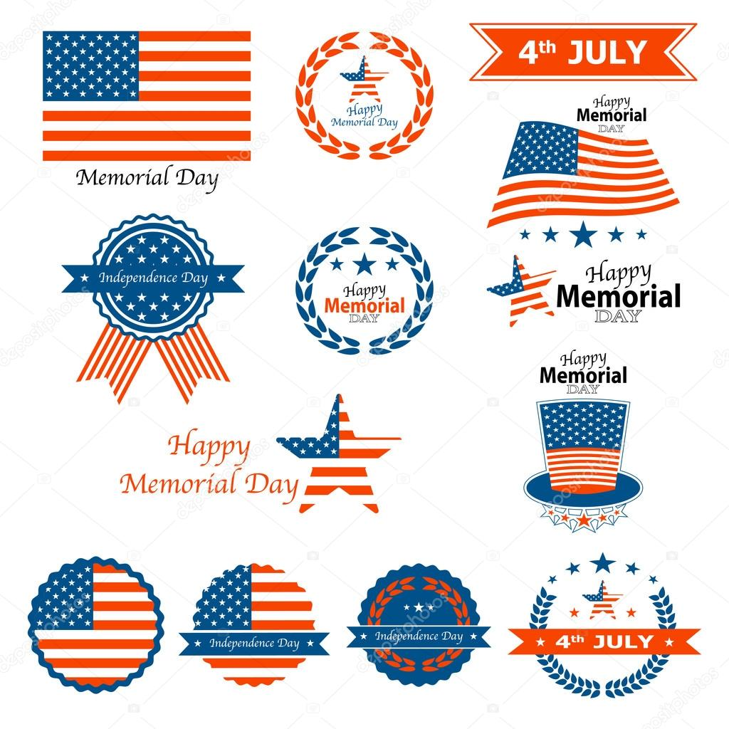 Set Of Memorial Day Labels On A White Background, Vector ...