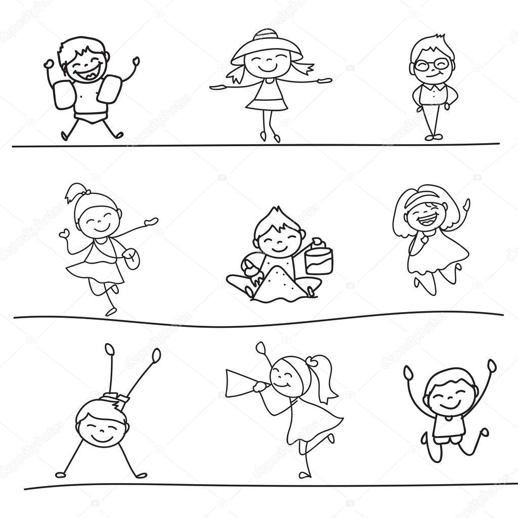 Mano Disegno Bambini Felici Dei Cartoni Animati Vettoriali Stock