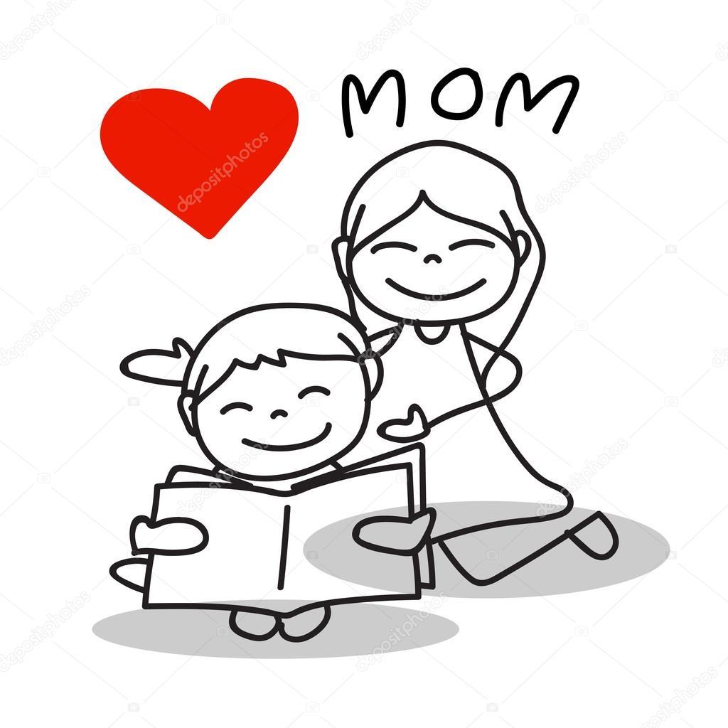 Dibujos Mamà Dibujo Mamá De Amor De Dibujos Animados Dibujo Mano
