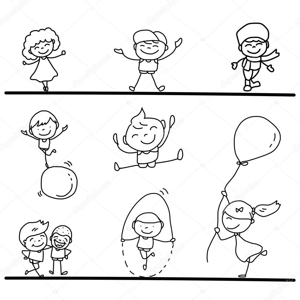 hand drawing cartoon kids playing u2014 stock vector atthameeni