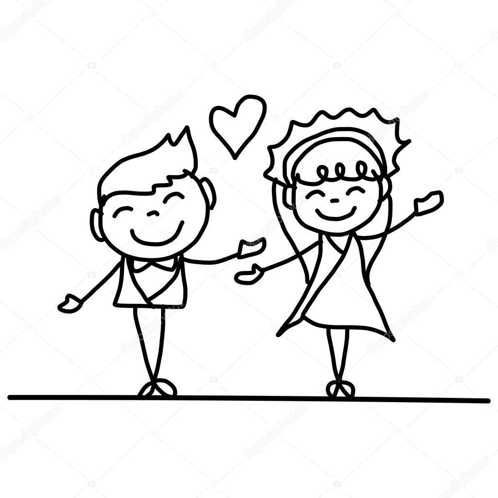 esküvői rajzolt képek kézi rajz rajzfilm pár esküvői — Stock Vektor © atthameeni #86688346 esküvői rajzolt képek