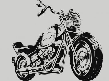 Vintage Motorcycle Vector Silhouette
