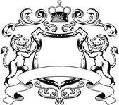 Heraldický lev štít Crest silueta