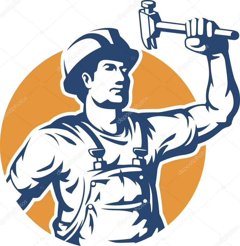 Vector de silueta de trabajador de construcción — Vector de stock ...