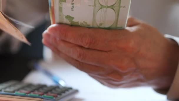 Close Up Of Man With Calculator Counting Money Euro