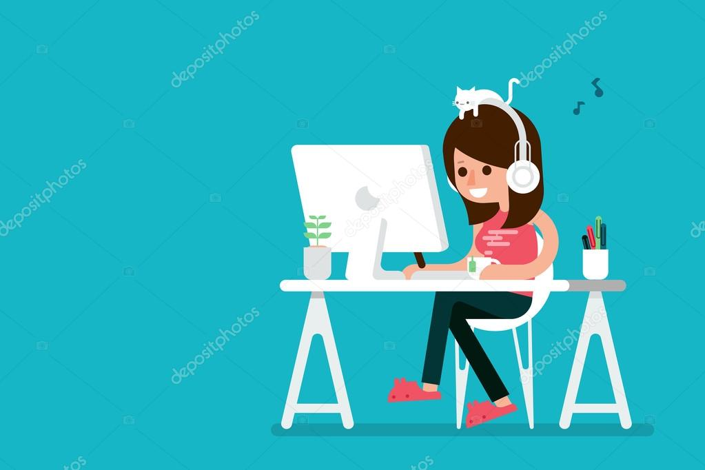 Happy woman working on computer.
