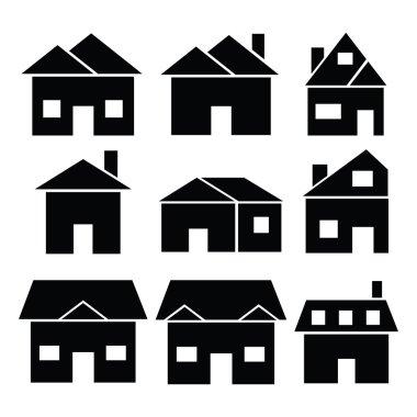 Houses silhouette black icon set.