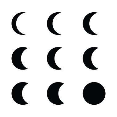 Moon phases silhouette black icon