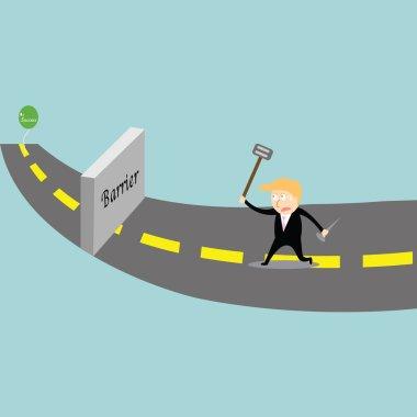 Businessman chasing success