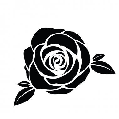 Black silhouette of rose with leaves