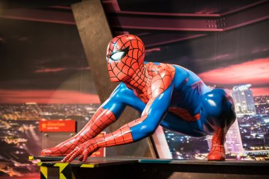 A waxwork of Spiderman on display at Madame Tussauds