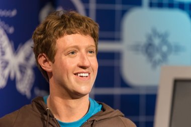 Waxwork of Mark Zuckerberg on display at Madame Tussauds