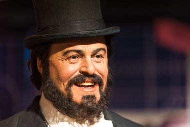 Waxwork of Luciano Pavarotti on display at Madame Tussauds