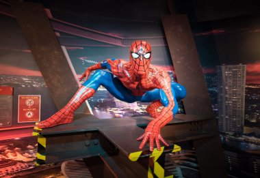 Waxwork of Spiderman on display at Madame Tussauds