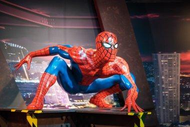 Waxwork of Spiderman on display at Madame Tussauds