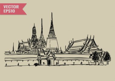 Free hand sketch World famous landmark collection : Grand Palace - Wat Phra Kaew, Bangkok Thailand.