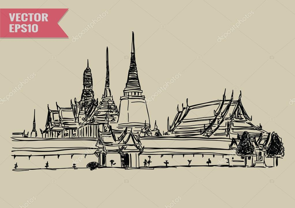 Free hand sketch World famous landmark collection : Grand Palace - Wat Phra Kaew, Bangkok Thailand.