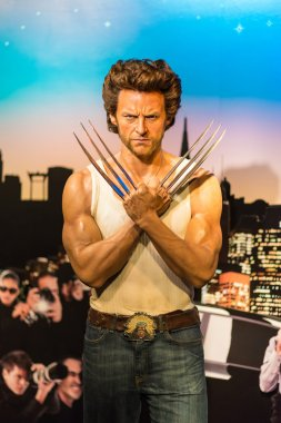 A waxwork of Wolverine on display at Madame Tussauds