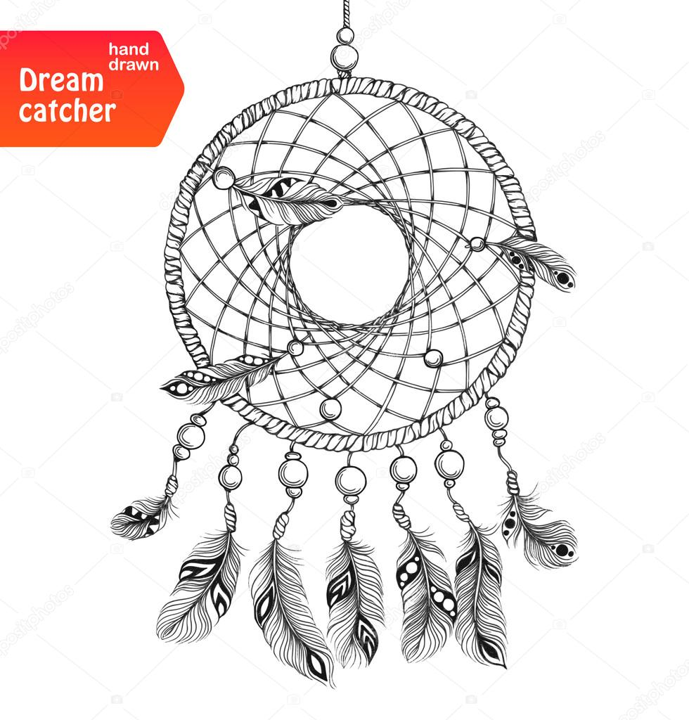 Ethnic dream catcher with feathers