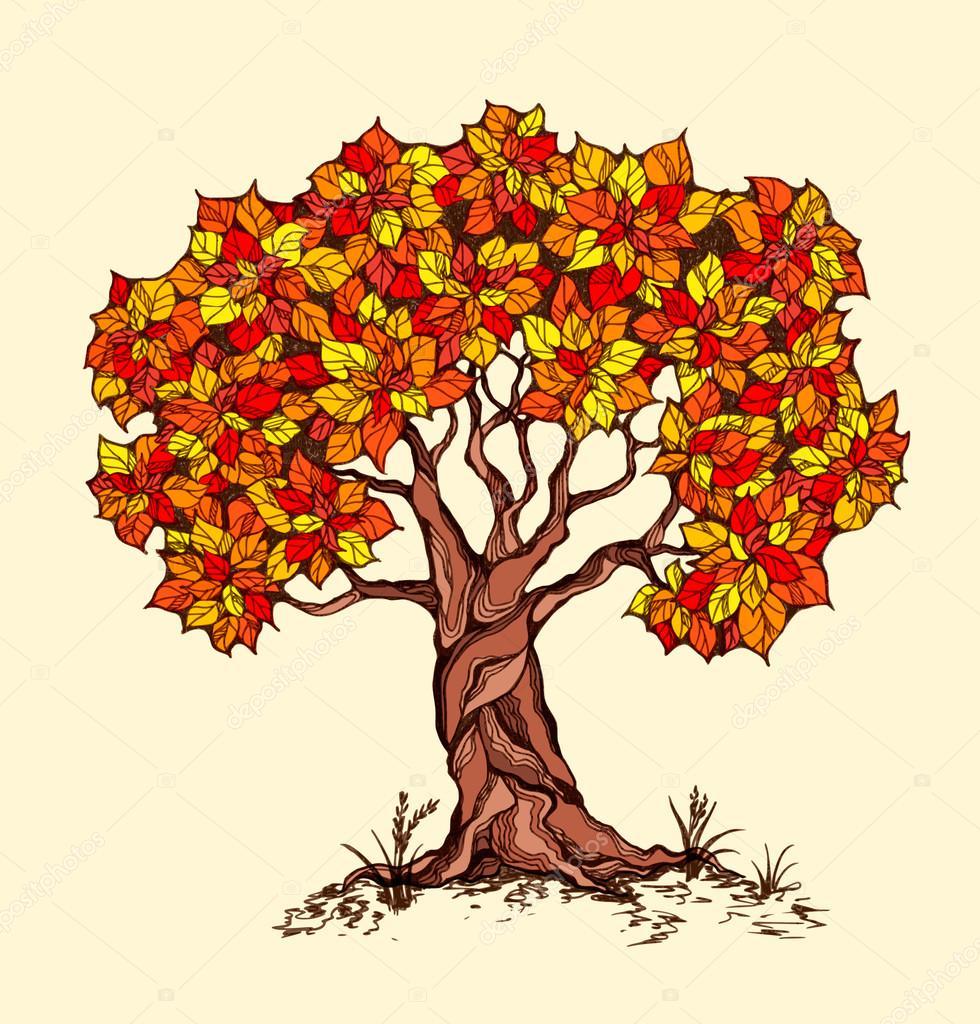 Solo árbol de la primavera con color las hojas en un estilo ...