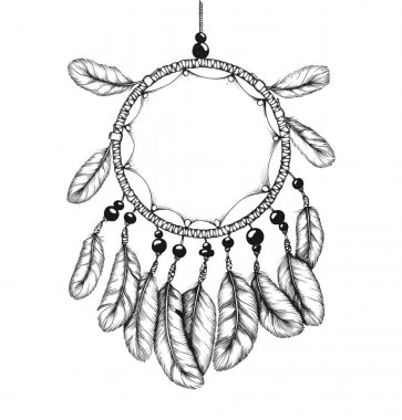 Ethnic tribal dream catcher with feathers