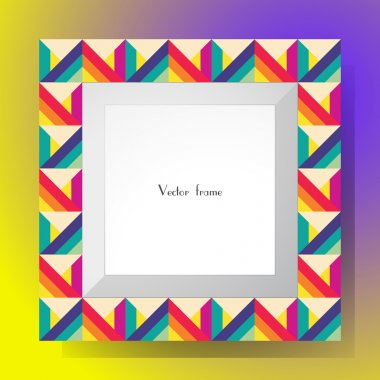 Picture frame isolated on colorful background. Perfect for your presentations or creation. Vector illustration