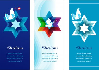 Three template cards with jewish symbols. illustration stock vector