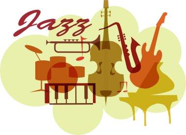 Colorful Jazz instruments set. isolated on white. illustration