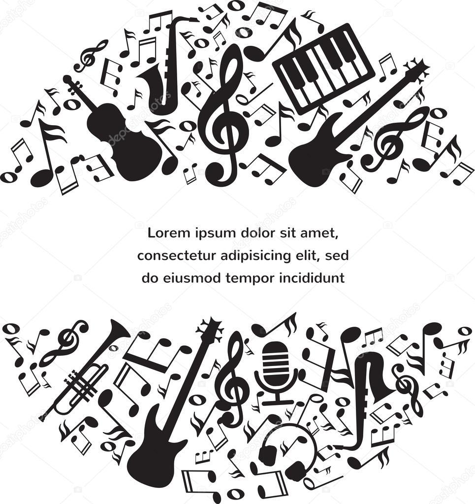 musik-hintergrund mit instrumenten und noten mit platz für