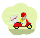 Photo Courier rides on scooter. Colored and isolated