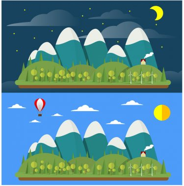Two vector modern flat design conceptual landscapes