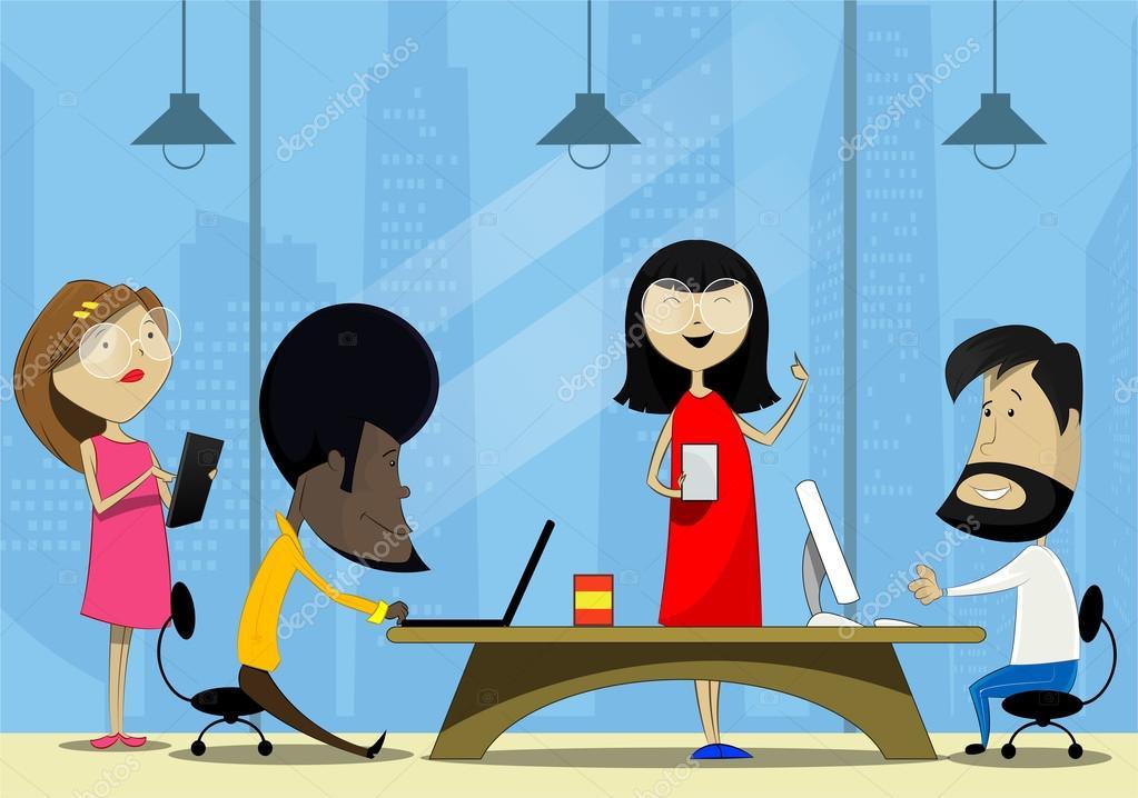 Personas creativas trabajando en la oficina de trabajo co for Oficina virtual consejeria de empleo