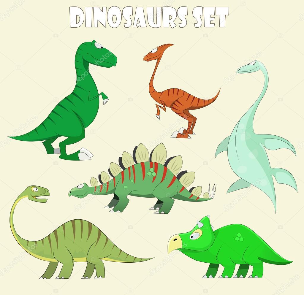 çizgi Film Dinozor Koleksiyonu Kümesi Vektör çizim Stok Vektör