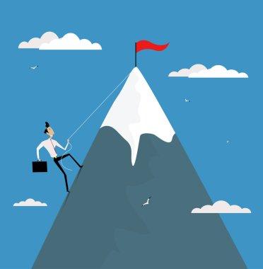 Cartoon businessman climbing mountain with flag on the top