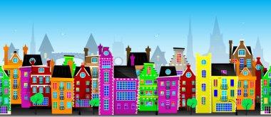Seamless vector pattern of European city