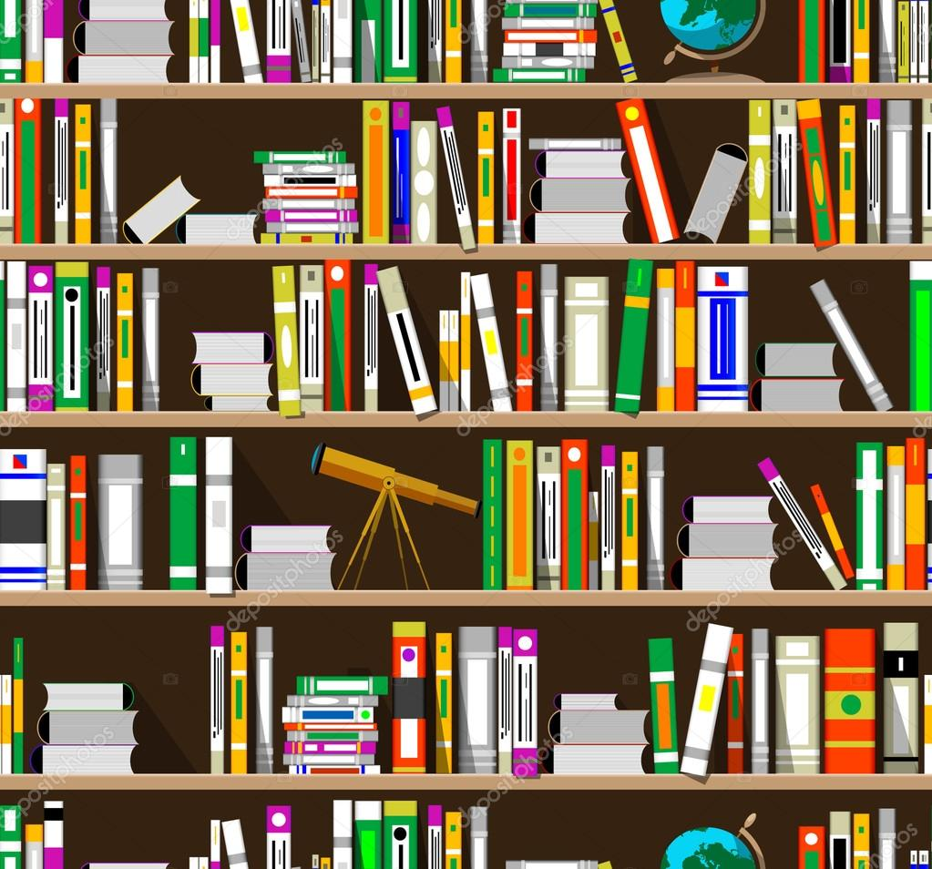 Bookshelves seamless pattern vector u2014 Vector by