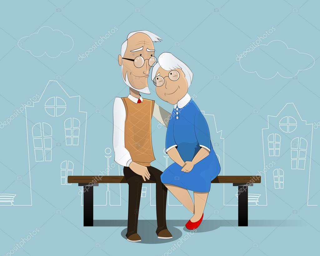 heureux couple de personnes g es dessin anim image. Black Bedroom Furniture Sets. Home Design Ideas